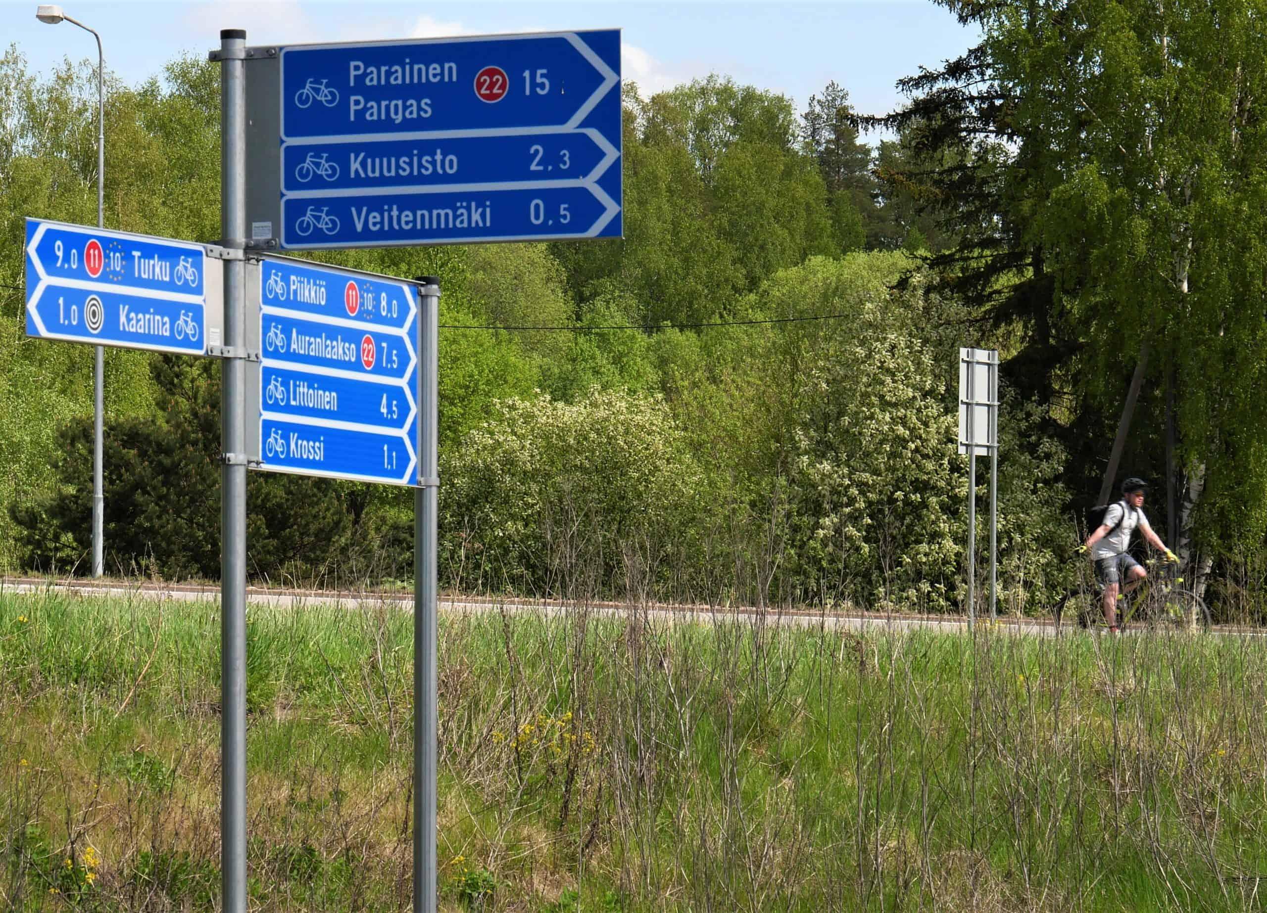 Pyöräilyopasteita Kaarinassa
