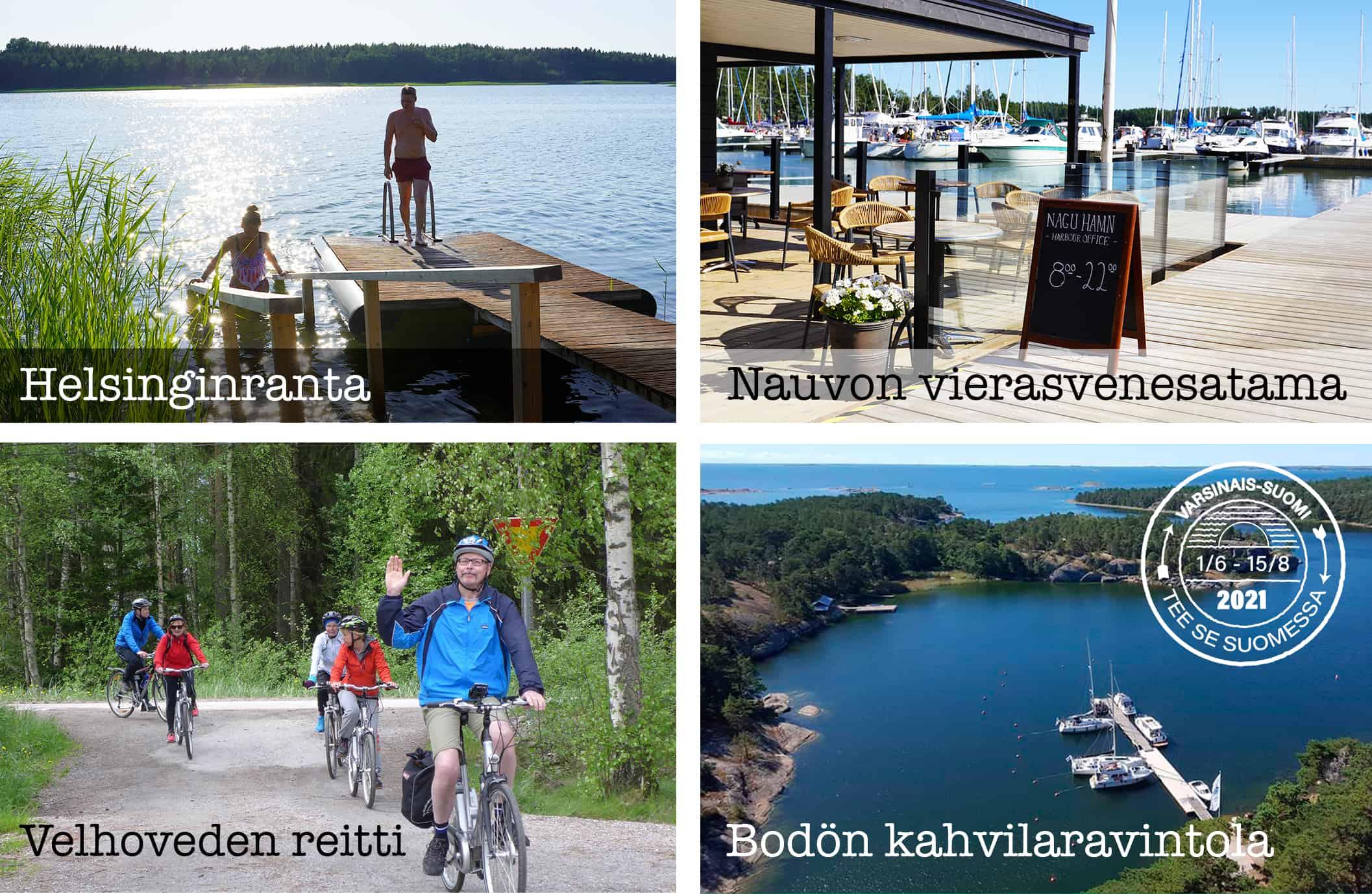 Kuvakooste, jossa esillä Helsinginranta, Nauvon vierasvenestama, Velhoveden reitti ja Bodön kahvilaravintola.