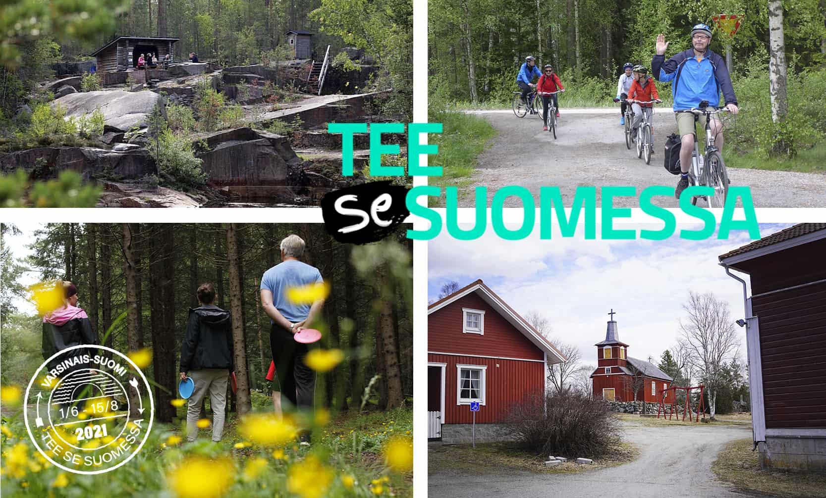 Neljä kuvaa matkailuaiheista, joiden päällä Varsinais-Suomen leima ja Tee se Suomessa -logo.