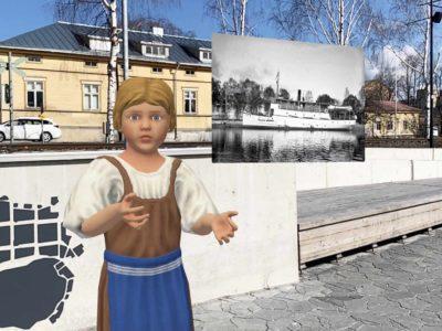 Näyttötallenne puhelimesta. Virtuaalinen piikatyttö Pakkahuoneen rannassa.