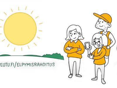 Piirroskuva maaseudun ihmisistä ja teksti: maaseutu.fi/elpymisrahoitus
