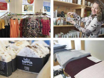 kuvassa maammekaupan tuotteita: vaatteita, kosmetiikkaa ja pellavapyyhkeitä.