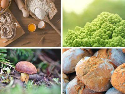 Neljä kuvaa ruuasta: pastaa, sieni, kaali ja leipää.
