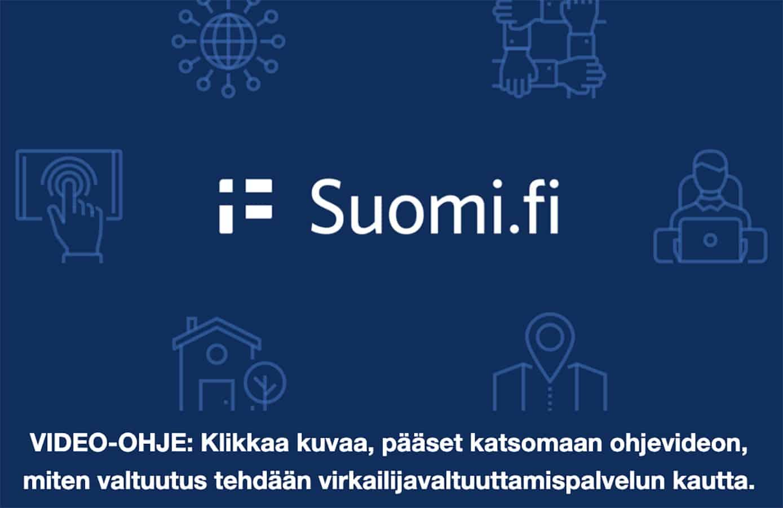 Kuvassa on Suomi.fi-logo. Kuva toimii linkkinä videomuotoiseen tunnistautumisohjeeseen.